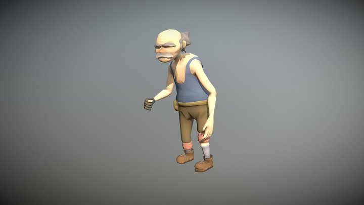 Animated Old Man Character 3D Model
