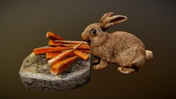 Animated Bunny Rabbit critter (Free L-Poly) 3D Model