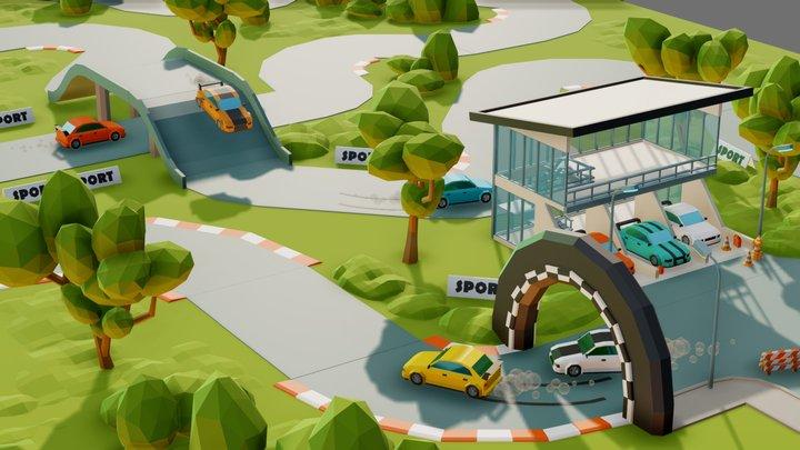 Simple racetrack 3D Model