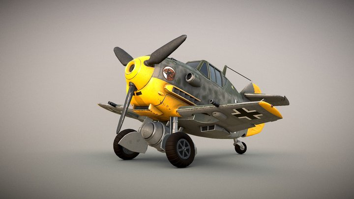 German Messerschmitt Bf-109 Toon 3D Model