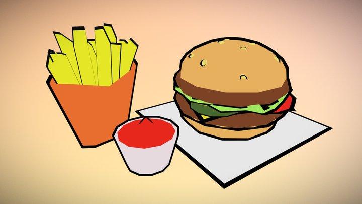 Burger & Fries 3D Model