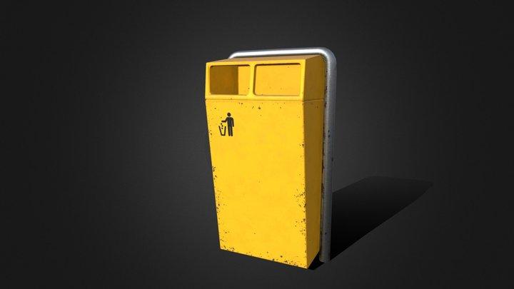 Trash can Trashbin yellow logo - ELA 3D Model