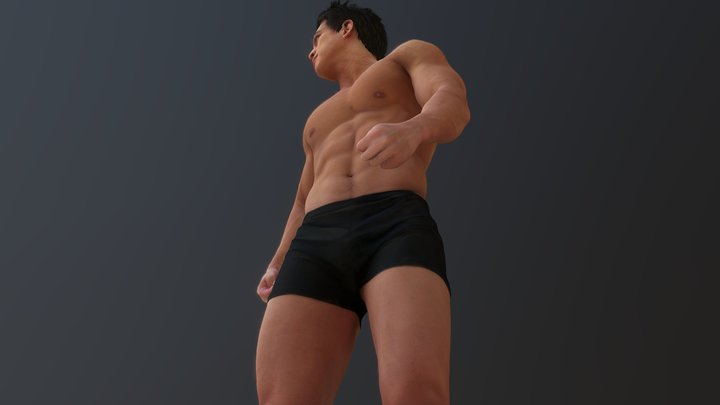 Strong Asian Indigenous young man 3D Model