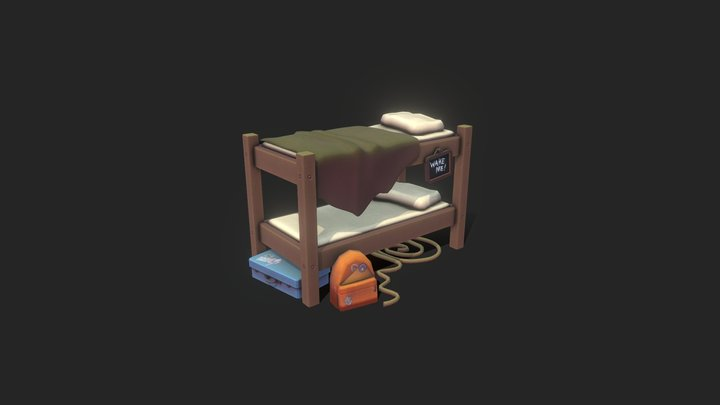 Props . Stylized Bunk Bed 3D Model