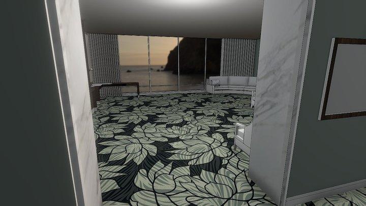 Hotel Room Ege Carpets Lotus Wave Grey 3D Model