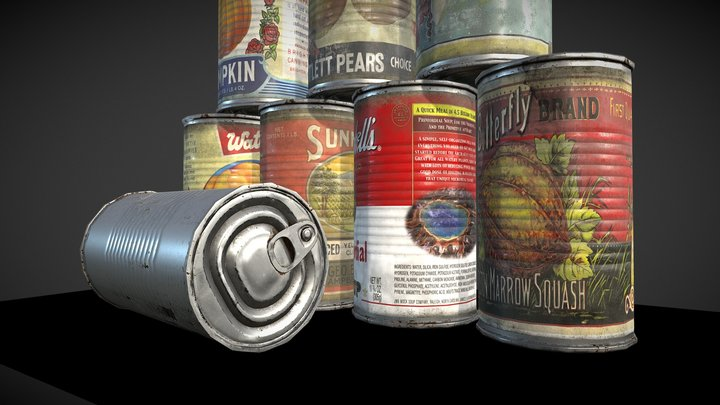 10 Old tin can 3D Model