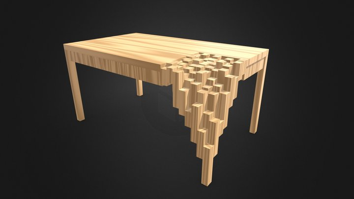 Table Fragmented Wood 3D Model