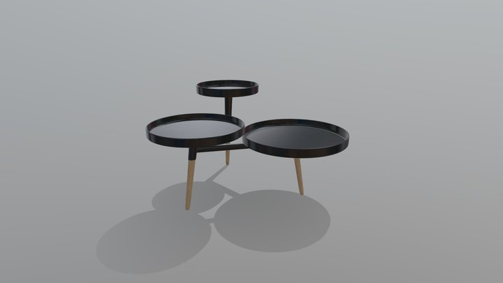 Black three top table 3D Model