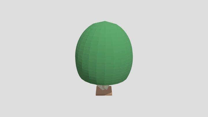 Low Poly Semi-Circle Bush 3D Model