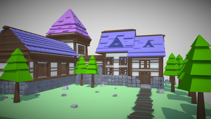 LowPoly Medieval House 3D Model