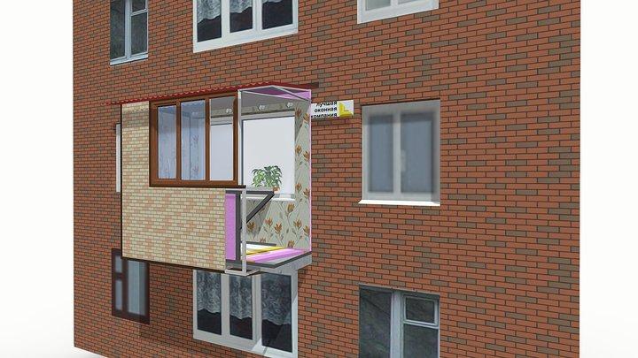 3D Балкон Лучшая оконная компания 3D Model