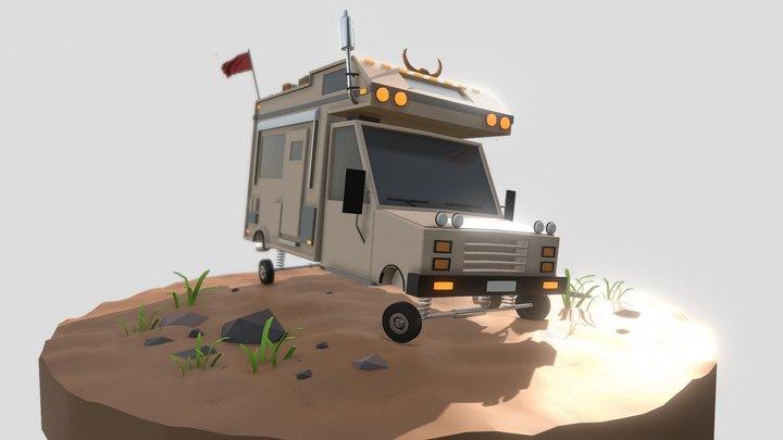 low poly travel car 3D Model