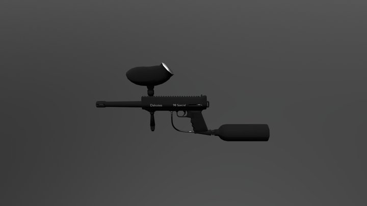 Lower-Poly Paintball Gun 3D Model