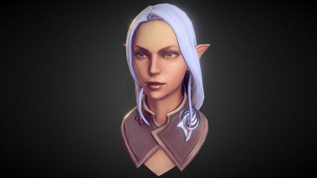 Silver-Haired Elf Girl study 3D Model