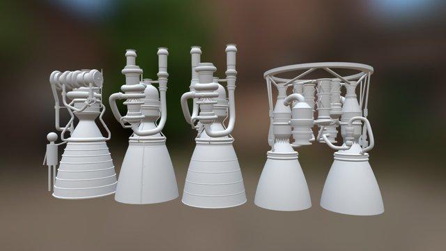 NGLS Vulcan Rocket Engines 3D Model