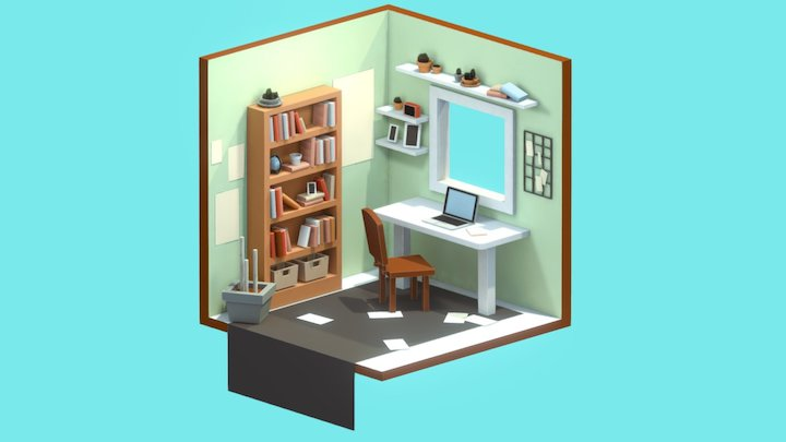 Isometric Studio Room 3D Model