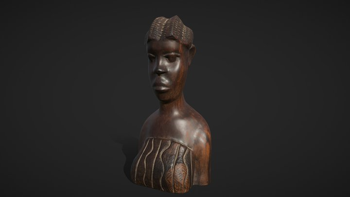 African wooden figurine 3D Model