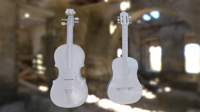 Guitar& Violin 3D Model