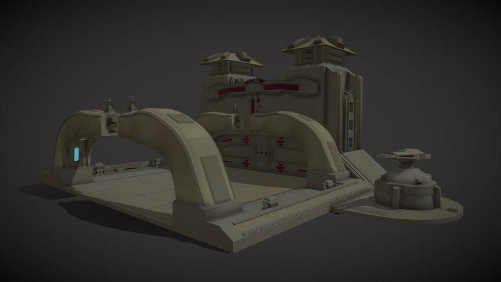 Rusty Futuristic Gate 3D Model