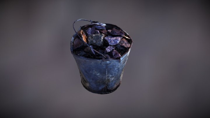 Bucket with rocks 3D Model