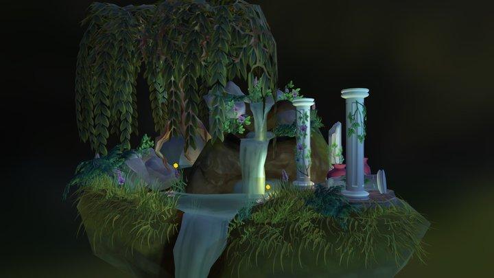 Waterfall Diorama 3D Model