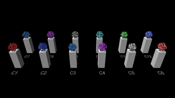 Cube Sculptures 3D Model