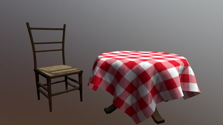 Italian table and chair low poly 3D Model