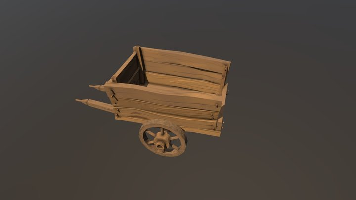 Wooden old cart - hand painted low poly cartoon 3D Model