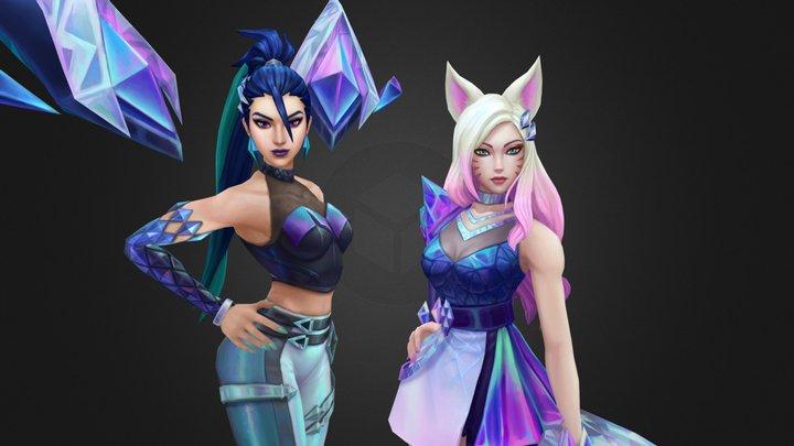 K/DA ALL OUT Kai'sa ♦ and Ahri ❤ 3D Model