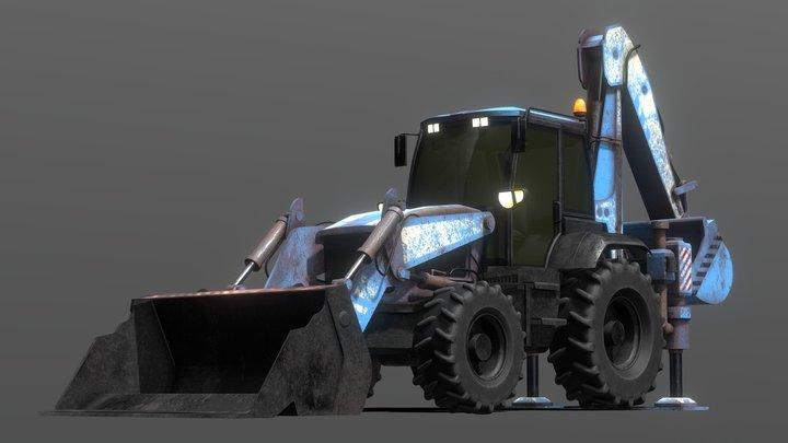 Tractor Excavator Model 01 (Blue version) 3D Model