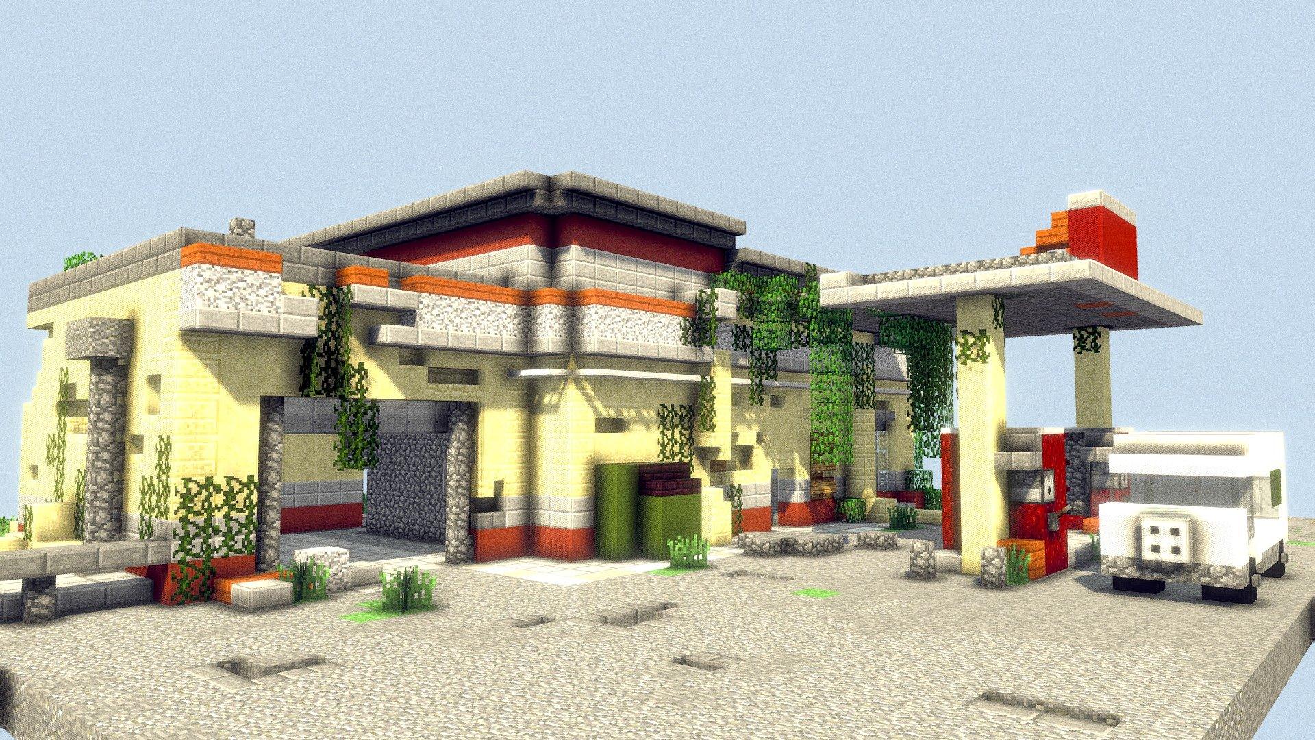 Voxel Minecraft Abandoned Gas Station 3d Model By Calibobdoodles Callumk 413fe8d Sketchfab