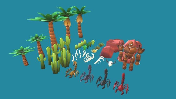 Low Poly Pack Oasis - Desert 3D Model