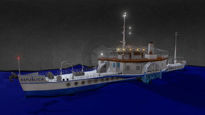 The Republica paddle steam ship 3D Model