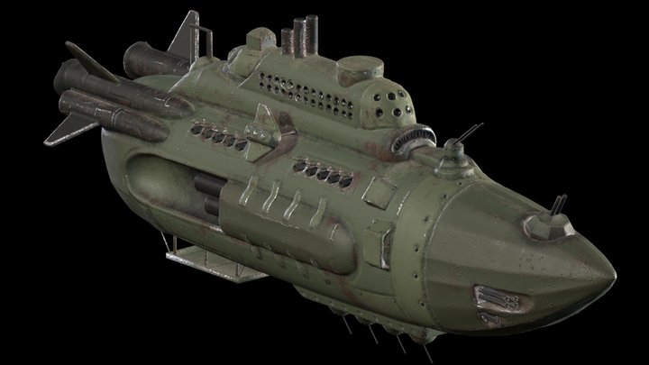 Military Armored Destroyer Airship Free download 3D Model