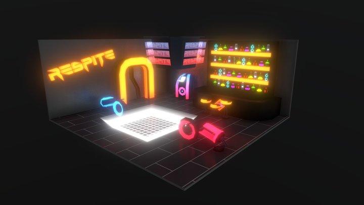Cyberpunk neon bar 3D Model