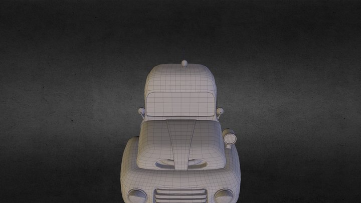 Cartoon Police Car 3D Model