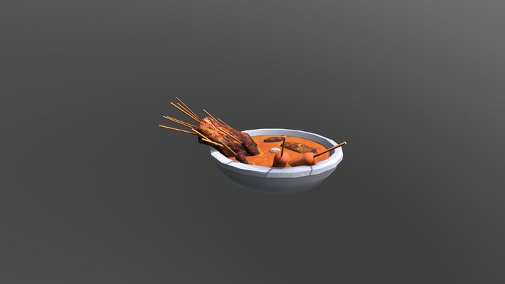 Low Poly Foodbowl with meatskewers 3D Model