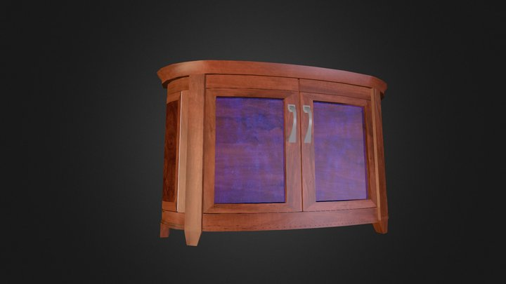 Blue Glass Curved Cabinet 3D Model