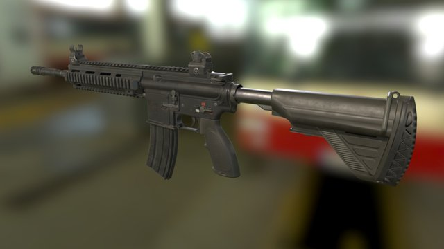 HK416 Assault Rifle 3D Model