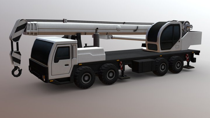 Crane 8x8 Lowpoly 3D Model