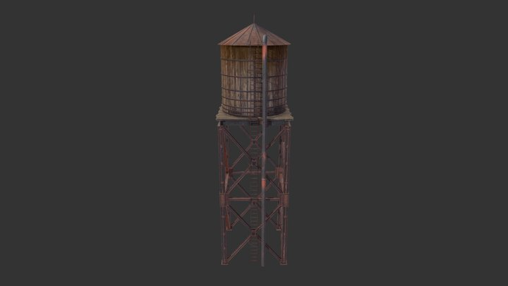 Western Water Tower 3D Model
