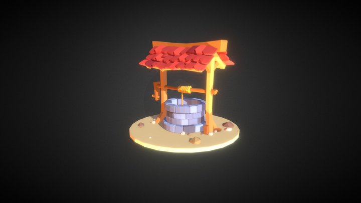 Cartoon Low Poly Well 3D Model