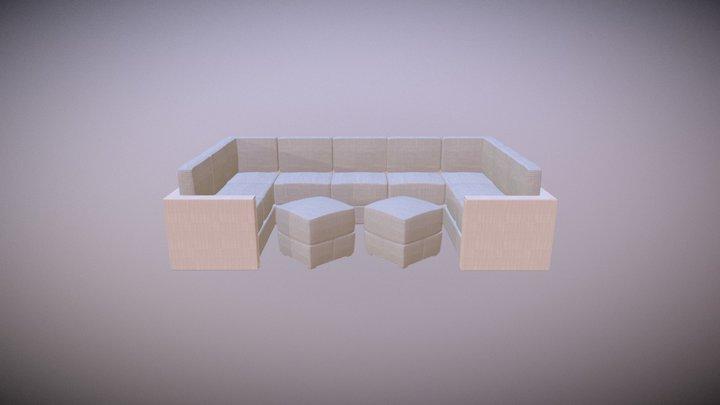 White Lounge Sofa 3D Model