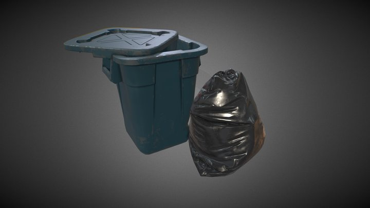Trash Bag and Container 3D Model