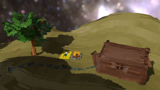 Small Cabin by a Hill 3D Model