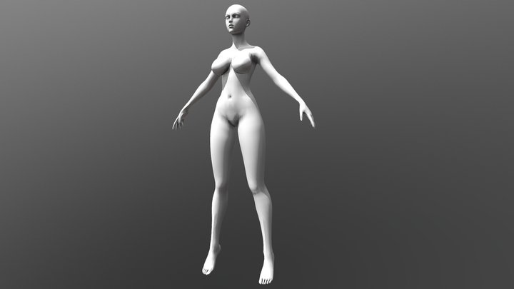 Stylized Heroic Female Large Breasts 3D Model