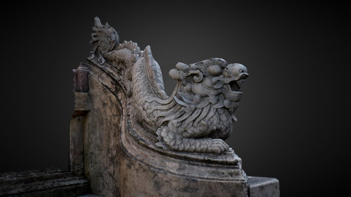 Dragon from Thế Tổ Miếu temple in Hue Vietnam 3D Model