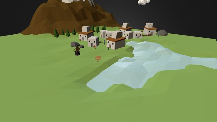 [Low-Poly] Godus FanArt 3D Model