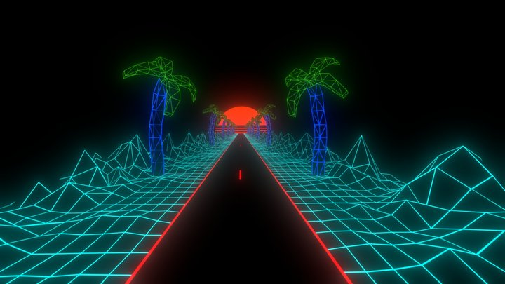 NeonRoad endless loop 3D Model