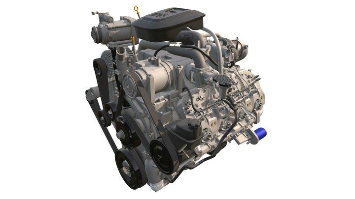Duramax Diesel V8 Turbo Engine 3D Model
